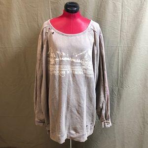 FreePeople Oversized Distressed Wyoming Sweatshirt